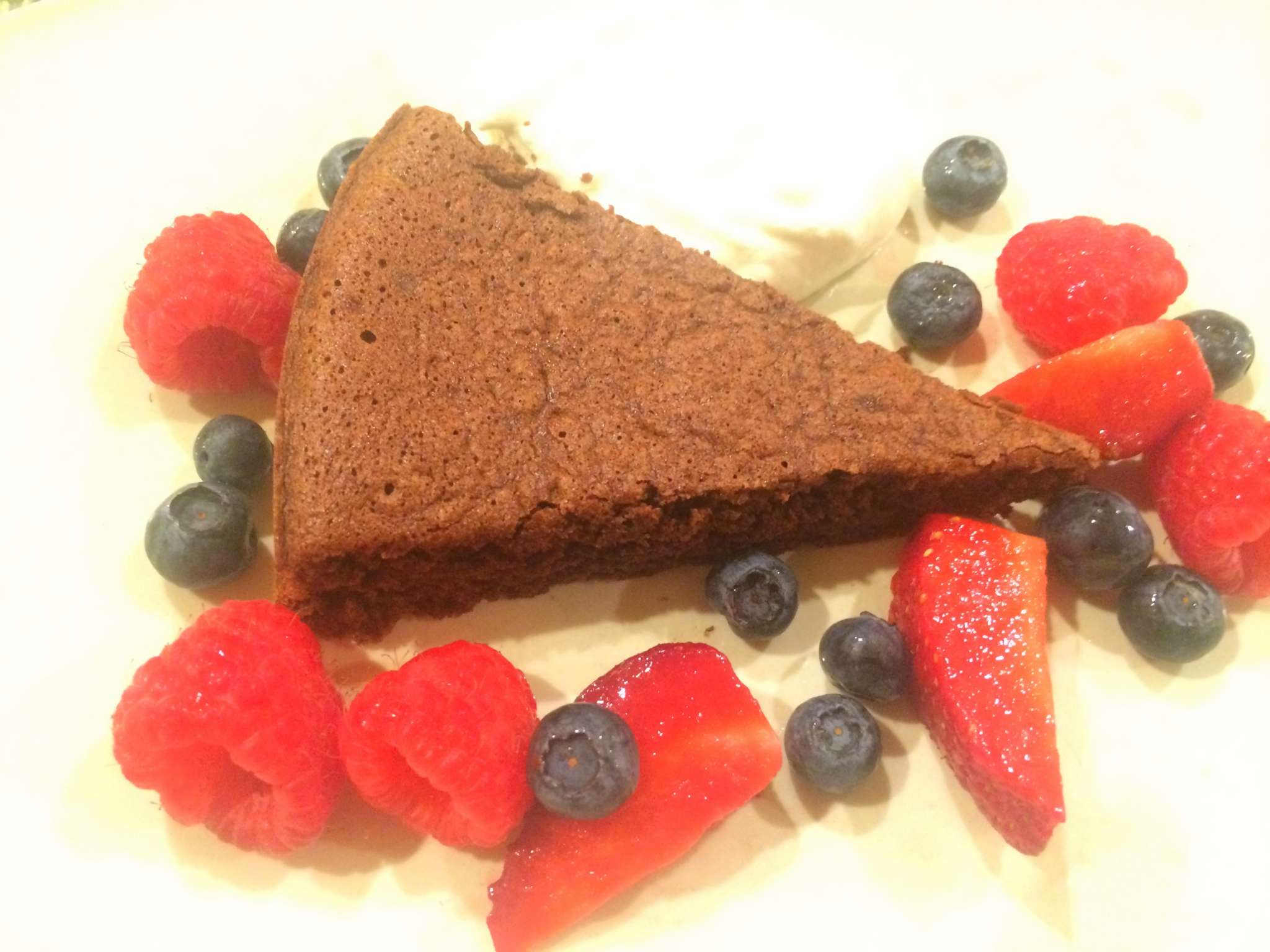 Healthier Bittersweet Chocolate Cake with Berries
