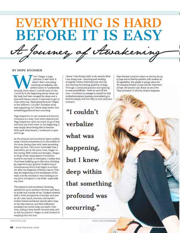 Mantra Yoga & Health Magazine - Hope Knosher Interview