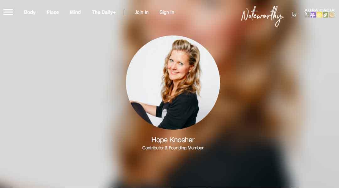 Noteworthy by Aura Cacia - Hope Knosher Profile